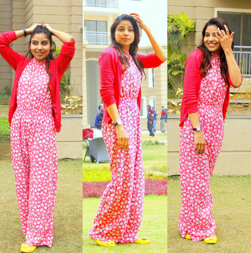 Floral winter fashion in jumpsuit