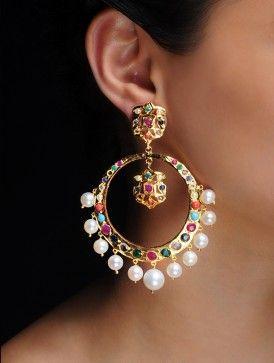 Latest Chandbali earrings designs, Ethnic jewellery, Round earrings, Heavy Earrings, jhumke, Punjabi Earrings, Indian Jewelry, bridal earrings , chandbali with pearl