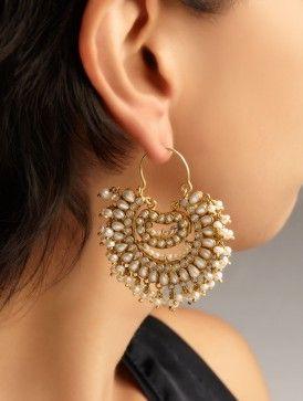 Latest Chandbali earrings designs, Ethnic jewellery, Round earrings, Heavy Earrings, jhumke, Punjabi Earrings, Indian Jewelry, bridal earrings